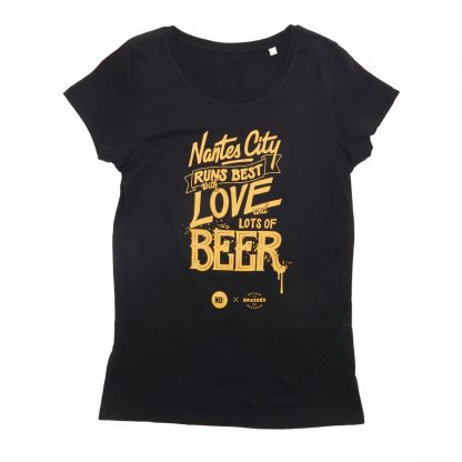 T-Shirt Nantes - Nantes City Love Beer - Femme - Noir/Jaune - Face