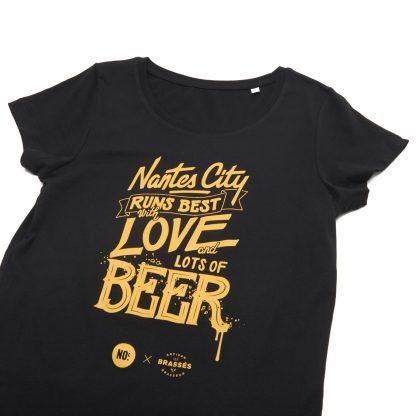 T-Shirt Nantes - Nantes City Love Beer - Femme - Noir/Jaune - Détail