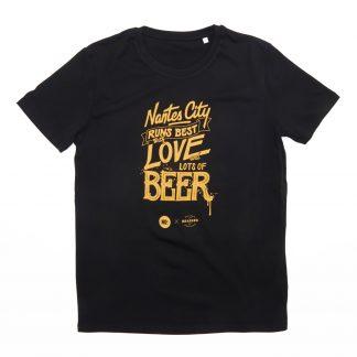 T-Shirt Nantes - Nantes City Love Beer - Homme - Noir/Jaune - Face