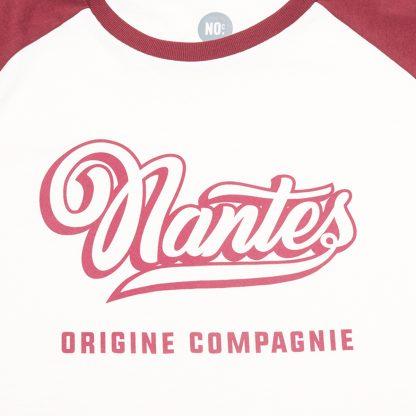 T-Shirt Nantes - Baseball - Femme/Homme - Blanc/Bordeaux - Détail