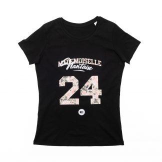T-Shirt Nantes - Mademoiselle Nantaise 24 - Enfant - Noir/Rose - Face