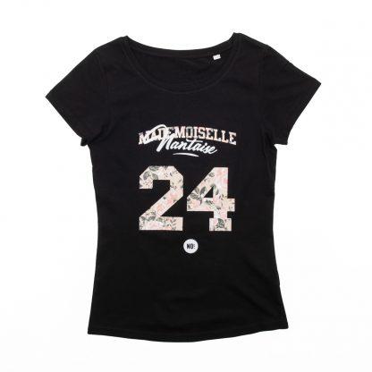 T-Shirt Nantes - Mademoiselle Nantaise 24 - Femme - Noir/Rose - Face