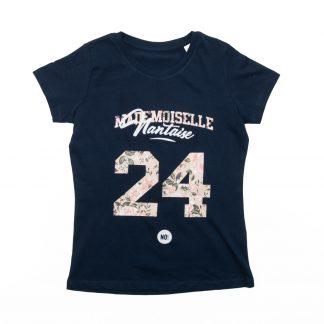 T-Shirt Nantes - Mademoiselle Nantaise 24 - Enfant - Bleu/Rose - Détail
