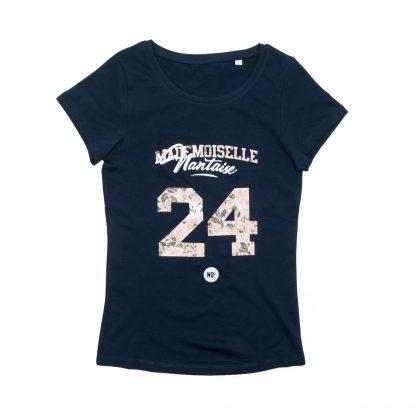 T-Shirt Nantes - Mademoiselle Nantaise 24 - Femme - Bleu/Rose - Face