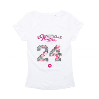 T-Shirt Nantes - Mademoiselle Nantaise 24 - Enfant - Blanc/Rose - Détail