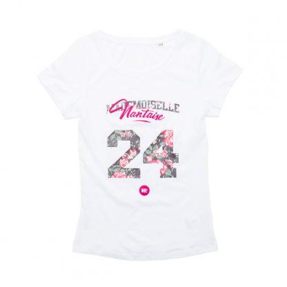 T-Shirt Nantes - Mademoiselle Nantaise 24 - Femme - Blanc/Rose - Face