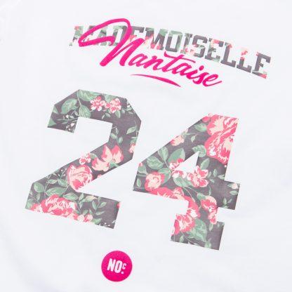 T-Shirt Nantes - Mademoiselle Nantaise 24 - Femme - Blanc/Rose - Détail
