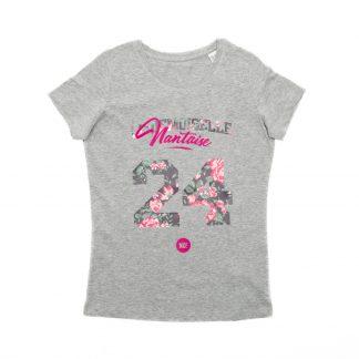 T-Shirt Nantes - Mademoiselle Nantaise 24 - Enfant - Gris/Rose - Face