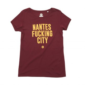 T-Shirt Nantes - Nantes Fucking City - Femme - Bordeaux/Jaune - Face