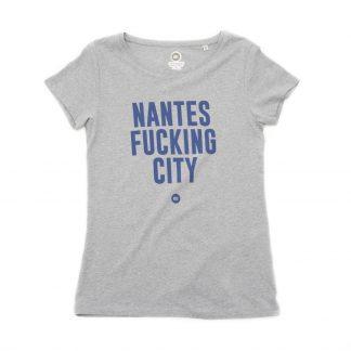 T-Shirt Nantes - Nantes Fucking City - Femme - Gris/Bleu - Face