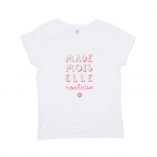 T-Shirt Nantes - Mademoiselle Nantaise - Femme - Blanc/Rose - Face