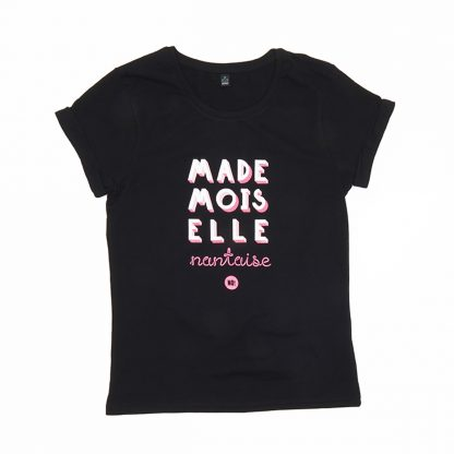 T-Shirt Nantes - Mademoiselle Nantaise - Femme - Noir/Rose - Face
