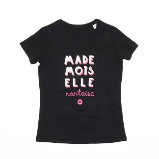 T-Shirt Nantes - Mademoiselle Nantaise - Enfant - Noir/Rose - Face