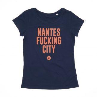 T-Shirt Nantes - Nantes Fucking City - Femme - Orange/Bleu - Face